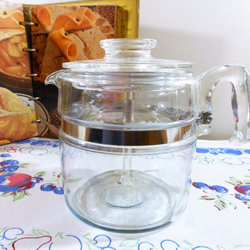 Pyrex Flameware 6 Cup Percolator, Complete Pyrex Coffee Pot, Clear Glass Pyrex Coffee Maker, Stovetop Pyrex Coffeepot, Pyrex 7756