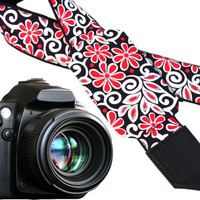 Pocket camera strap with abstract flowers. Red. White. Black. Bridesmaid gift ideas. Personalized gifts. Gifts for every budget by InTePro