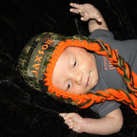 Orange and Camo Personalized With Name Infant camouflage Diaper Cover, Hat and Booties set