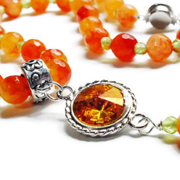 Orange Jade and Peridot Necklace, Swarovski Necklace, Orange & Green Gemstone Necklace