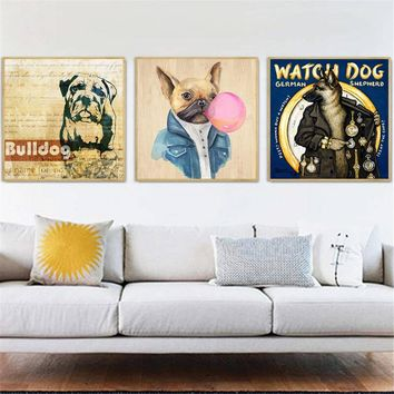Cute Poster Prints Bulldog Funny Dog Painting Wall Art Canvas Pictures for Living Room Home Decor Cuadros Decoracion Salon