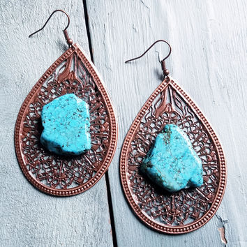 Copper Filigree Teardrop Earrings with Turquoise Chunk 235V
