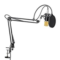 Professional Studio Broadcasting Recording Condenser Microphone & NW- 35 Adjustable Recording Microphone Suspension Scissor Arm Stand with Shock Mount and Mounting Clamp Kit