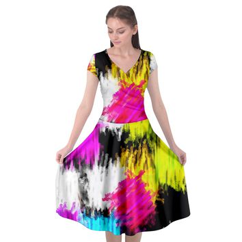 Colorful blurry paint strokes Cap Sleeve Wrap Front Dress