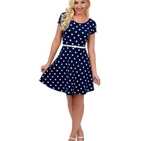 Navy Blue & White Polka Dot Short Sleeve Belted Flare Dress