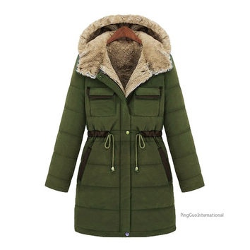 Winter Fashion Slim Wadded Overcoat Female Thickening Liner Medium-long Cold-proof Cotton-padded Jacket Outerwear = 1838549508