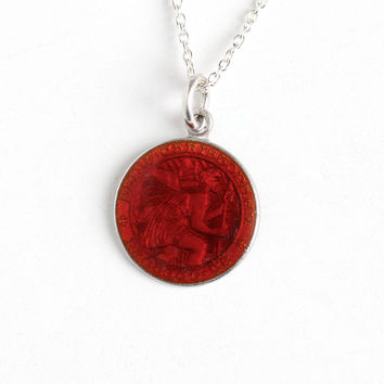 Vintage St. Christopher Protect Us Sterling Silver Pendant Charm Necklace - Red Guilloche Enamel Religious Saint Catholic Fob Dainty Jewelry