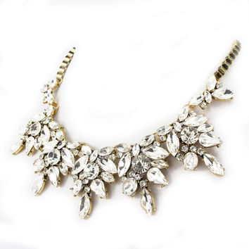 Bling Rhinestone Crystal Statement Fashion Necklace