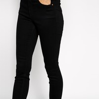 ASOS PETITE Ridley High Waist Ultra Skinny Ankle Grazer Jeans in Clean Black