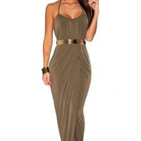 Sexy Halter Draped Gold Belted Olive Maxi Dress - OASAP.com