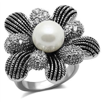 WildKlass Stainless Steel Ring High Polished (no Plating) Women Synthetic White