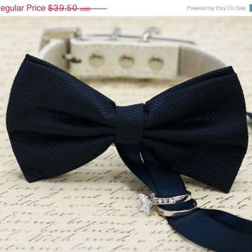 Navy Dog Bow Tie, Dog ring bearer, Pet Wedding accessory, Pet lovers, navy bow attached to dog collar, color of 2015, wedding accessory