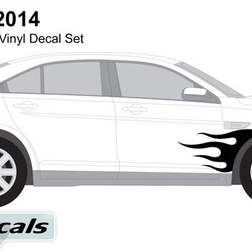 Ford Taurus 2014 Flaming Side Graphics Vinyl Decal Set