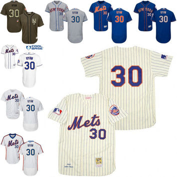 blue grey White Pinstripe Throwback Nolan Ryan Replica Jersey , Men's #30 Mitchell And Ness New York Mets