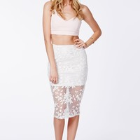 GALANTA ORGANZA BODYCON MIDI SKIRT WITH EMBROIDERED FLORALS