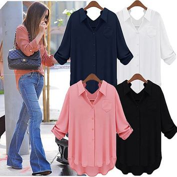 'Perfect' Roll Tab Sleeve Loose Fit Shirt