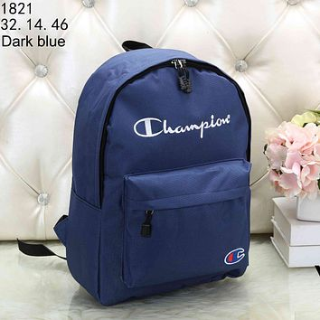 Champion 2018 autumn and winter new men and women students bag casual camouflage canvas bag travel backpack Dark blue