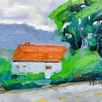 HOUSE at TIBURON - 8 x 10 - Oil Painting - Original Landscape - Roof - Tiburon - California Landscape - Home Decor - Original - Beach Home