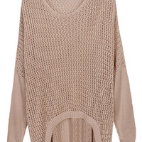 ROMWE | Cream-coloured Bat-wing Sleeve Jumper, The Latest Street Fashion