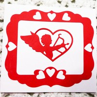 Cupid Red on White Love Card, 5