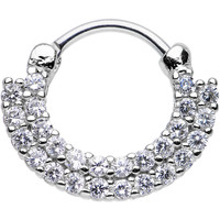 """16 Gauge 3/8"""" Clear CZ Double Row of Glamour Septum Clicker"""
