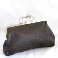 Large Skull Knuckle Duster Clutch Purse - Brown Ostrich Leather