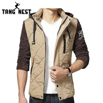 TANGNEST Hooded Men's Winter Warm Parka 2017 New Design Asian size M-3XL 3 Colors Patchwork Plaid Slim Fit Coat MWM1505