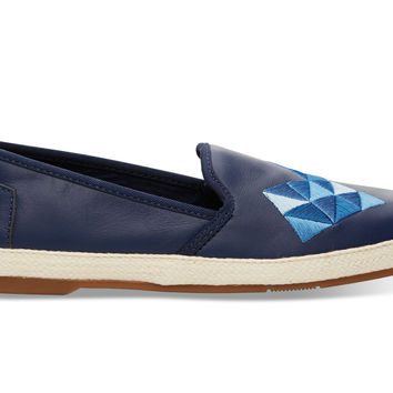 TOMS Ink Leather with Embroidery Women's Sabado Blue