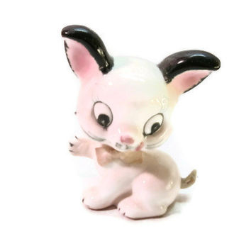 Cute Vintage Cat Figurine,  Pink and Black Ceramic Kitten, Made in Japan