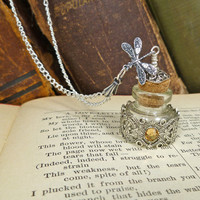 Pretty Poison Bottle Necklace silver dragonfly by sandrandan