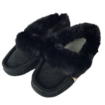 Men's Soft-Sole Black Suede Moccasins With Rabbit Fur