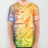 Bright Gradient (Hot Pink Orange Green Yellow Blue) Geometric Pattern Print All Over Print Shirt by AEJ Design