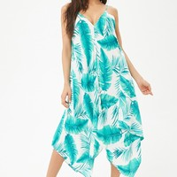 Palm Leaf Print Swim Cover-Up Dress