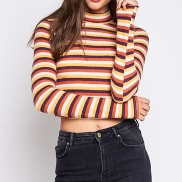 Book Smart Yellow Orange White Brown Horizontal Stripe Pattern Long Sleeve Mock Neck Crop Top - Sold Out