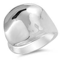 925 Sterling Silver Concave Ring 20MM