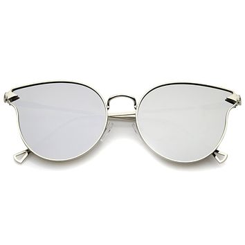 Modern Flat Mirror Lens Horned Rim Sunglasses A854