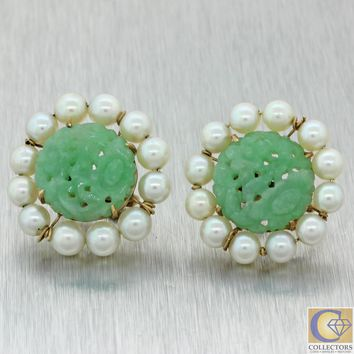 1970s Vintage Estate 14k Yellow Gold 15mm Jade 5mm Pearl Cocktail Stud Earrings