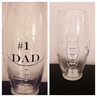 Number 1 dad football glass Fathers day glass Fathers Day Gift custom Father's Day gift