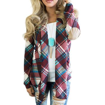 Yazmin Plaid Knit Sweater Cardigan