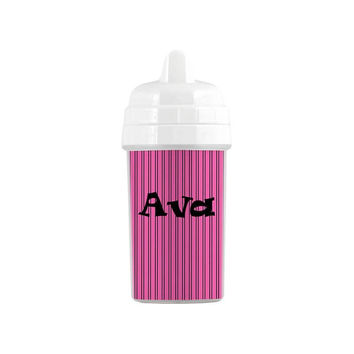 Personalized Hot Pink and Black Stripes Sippy Cup