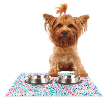 "Miranda Mol ""Kaleidoscopic White"" Aqua Abstract Dog Place Mat"