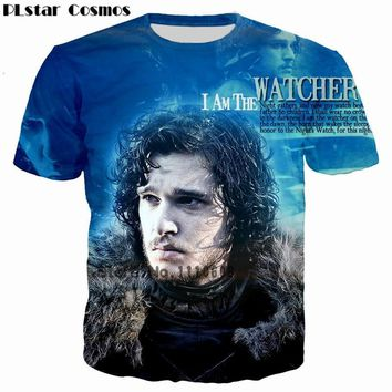 PLstar Cosmos Jon Snow King Game of Thrones 3D Printed Men/Women T-shirt casual men tshirt Tops Tees Kit Haringt Print  t shirt