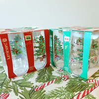 Set of 8 Christmas 16 oz Tumblers, NOS Luminarc Christmas Glasses,  Luminarc Christmas Tumblers
