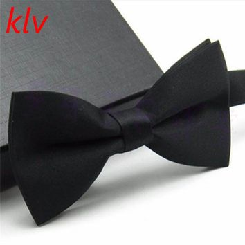 KLV New Boys Girls School Fashion Bow tie For Kids Bowtie Solid Candy Colorful Baby Butterfly Cravat Gravata