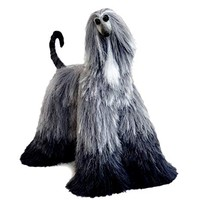 Dark Grey Ombre Collectible Afghan Hound Poseable Miniature Cute Plush Art Doll Needle Felted Dog
