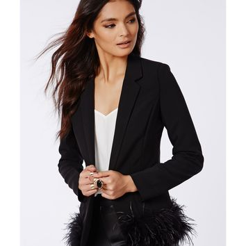 Missguided - Louisea Feather Trim Blazer Black