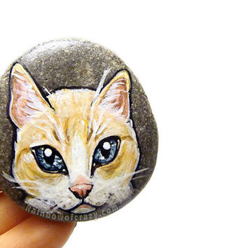 Cat Portrait Stone, Pet Art, Hand Painted Pebble, Beach Stone, Flame Point Siamese Cat Breed, Orange Cat, Memorial Keepsake Gift