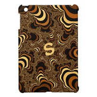 Cool brown stripped fractal. Monogram. Case For The iPad Mini