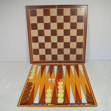 Vintage BackGammon & Checkers Board Games - Retro Plastic Checkers in Seventies Colors - Game Room Equipment for Repurposing and Decorating