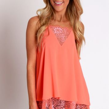 Layers of Lace Tank Neon Coral
